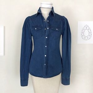 Torn By Ronny Kobo Denim Pearl Snap western Shirt